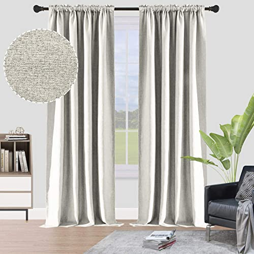 ALLJOY Linen Extra long Window Curtain 108 Inches 2 Pack 100 blackout Drape