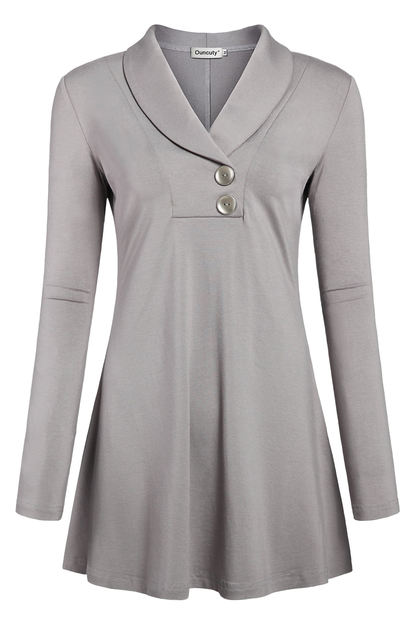 b09bd7f24ad0a8 Ouncuty Women Tunic Tops for Leggings, Shirts for Women Long Sleeve  Business Casual Blouses Tunic Sweatshirts Flowy Tops Sexy Loose Blouses  Plus Size Grey ...