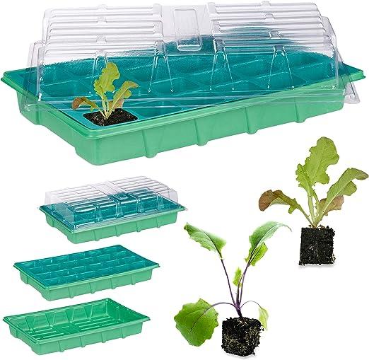 Relaxdays, Verde, Semillero de Germinación con 24 Compartimentos para Terraza, Jardín e Interior, 38 x 24, 5 cm: Amazon.es: Jardín
