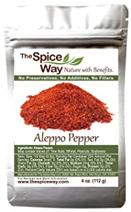 The Spice Way - Premium Aleppo Pepper |4 oz.| Crushed Aleppo Pepper Flakes (Halaby Pepper/Pul Biber/Marash Pepper/Aleppo Chili Flakes) Popular in Turkish and Middle Eastern/Mediterranean cooking