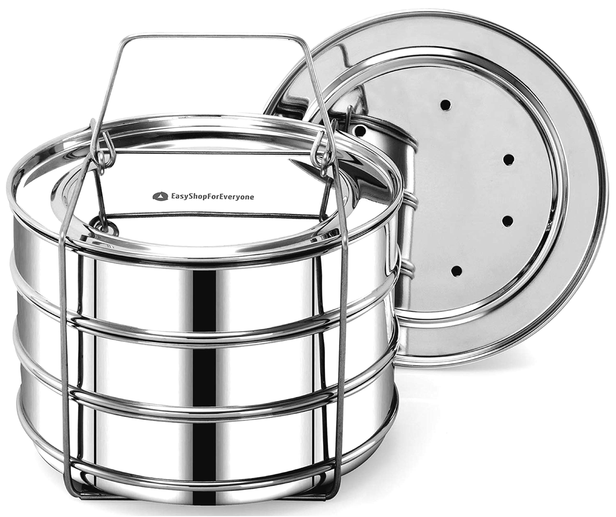 EasyShopForEveryone Stainless Accessories Stackable Pans, Pot in Pot Steel Insert, 6 qt Pressure Cooker Accessories for Instant Baking, Lasagna Pans, Food Steamer - Cook 3 Dishes at a time
