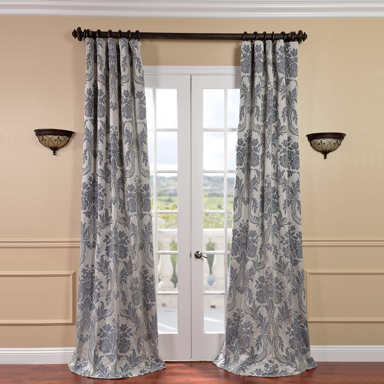 Half Price Drapes JQCH-2012206-108 Magdelena Faux Silk Jacquard Curtain, Silver & Blue, 50 x 108