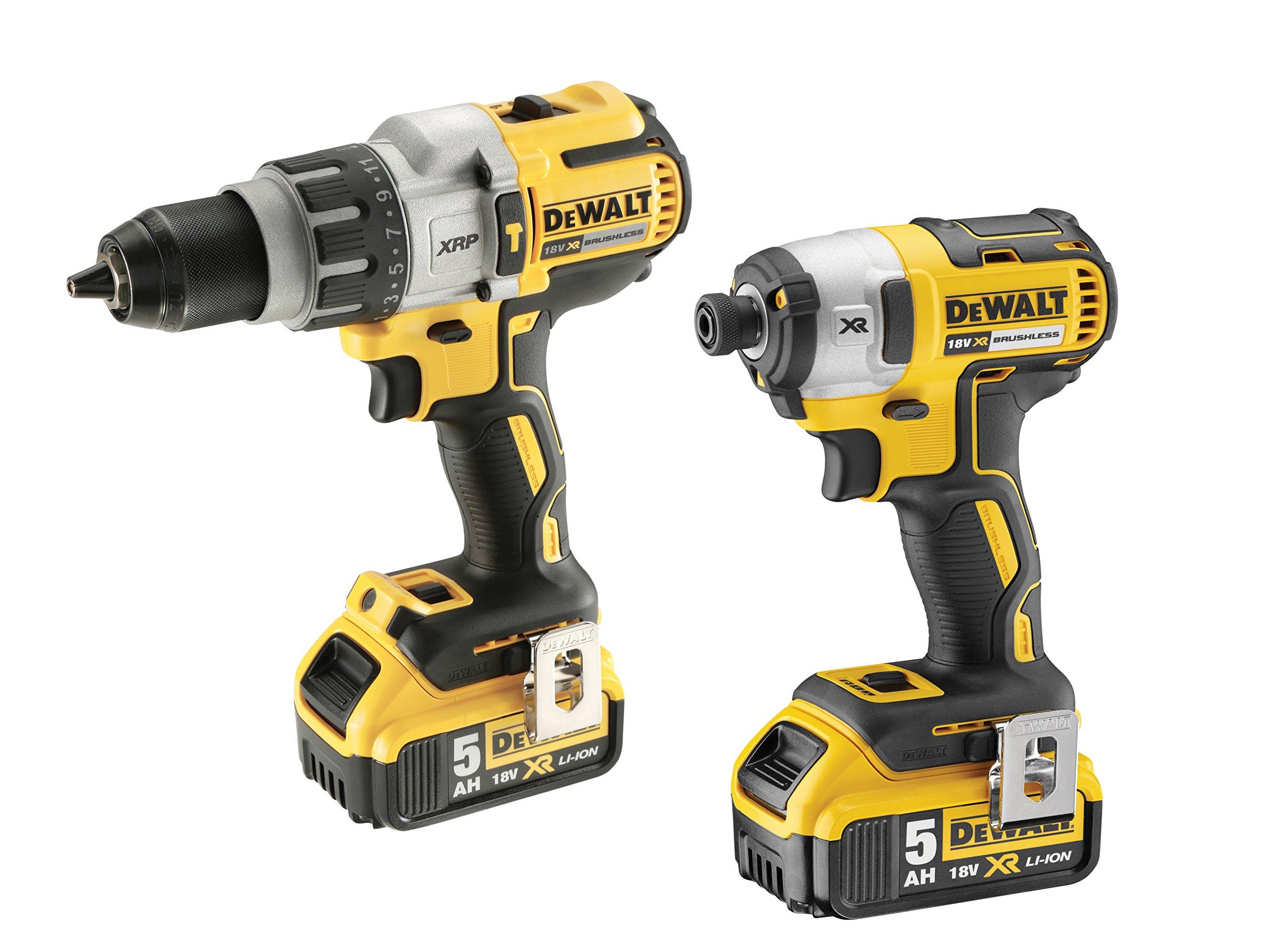 Dewalt DCK276P2-GB Combi Drill and Impact Driver XR 18V Brushless Kit (2 x 5.0Ah Batteries) in Toughsystem Box, 18 V, Yellow/Black, 57 x 35 x 17 cm