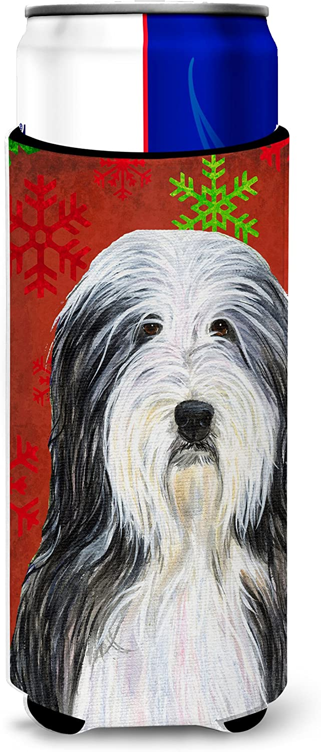 Caroline's Treasures SS4704MUK Bearded Collie Red and Green Snowflakes Holiday Christmas Ultra Beverage Insulators for slim cans, Slim Can, multicolor