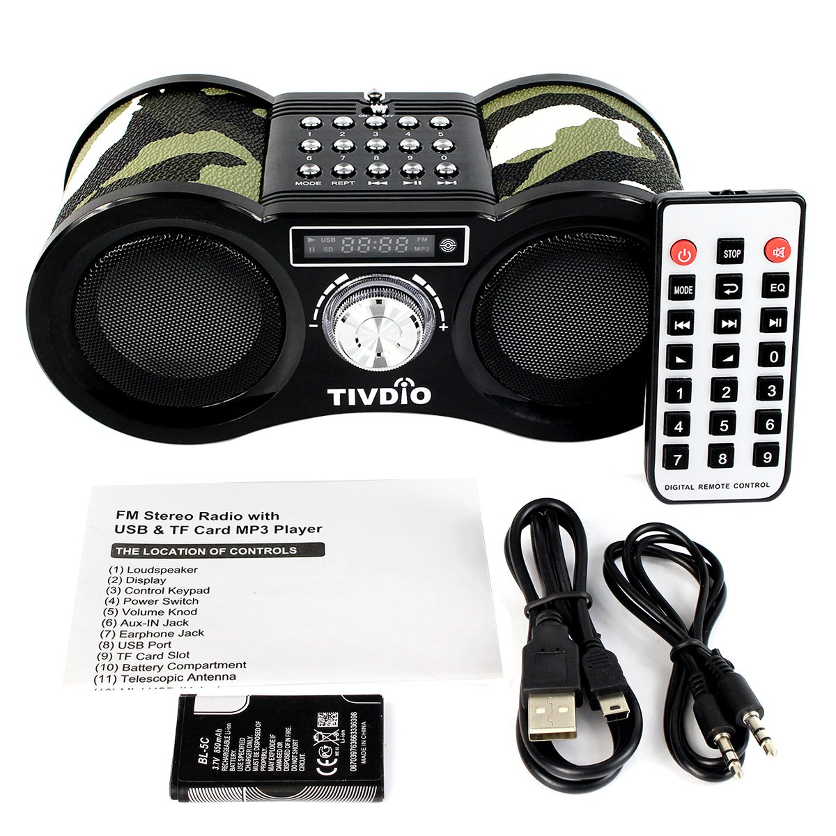 TIVDIO V-113 Portable Transistor FM Stereo Radio Support Mp3 Music Player Speaker Micro SD IF Card Aux Line In Remote(Camouflage) by TIVDIO (Image #7)
