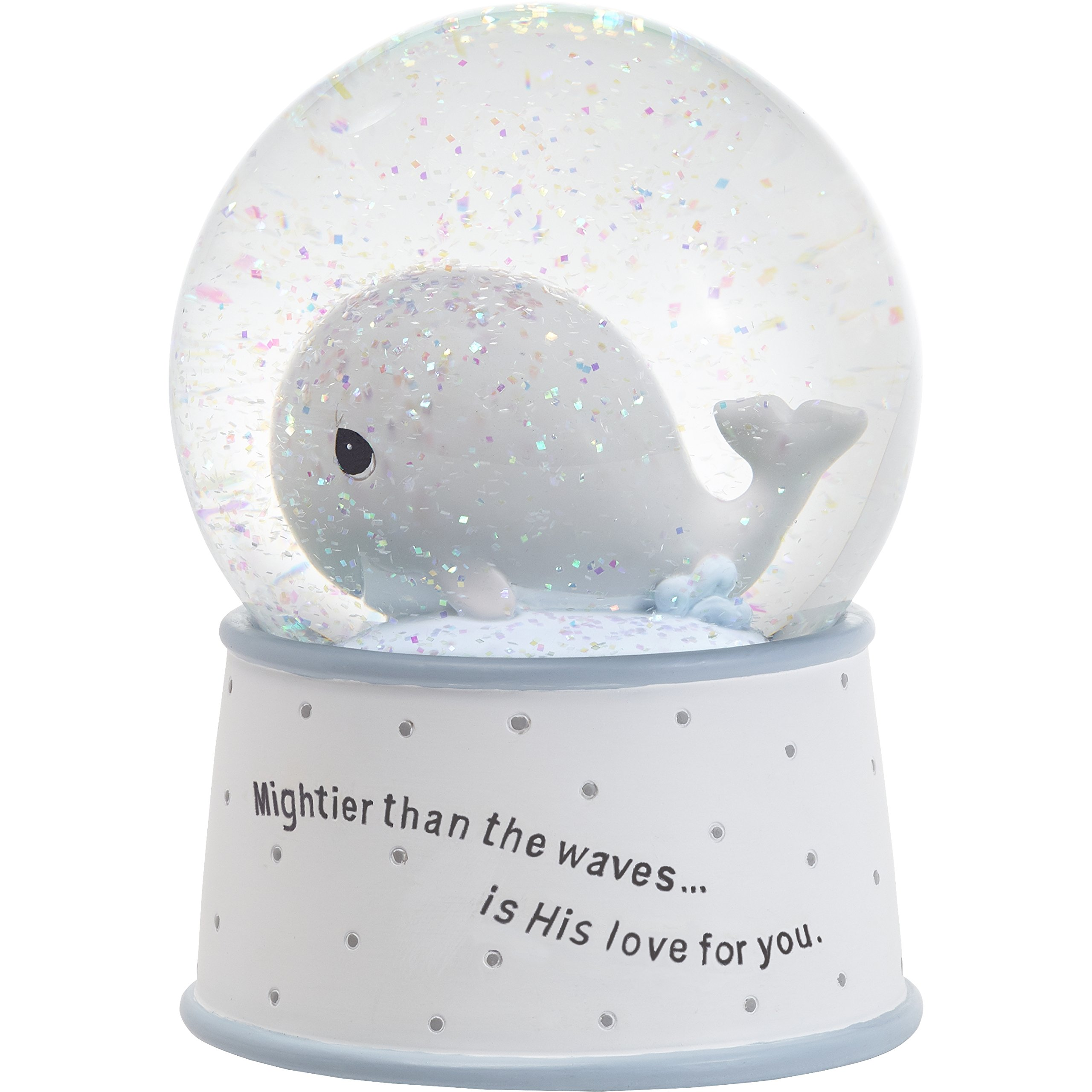 Precious Moments''''Mightier Than The Waves Brahms' Lullaby Whale Musical Resin/Glass Snow Globe, One Size, Multicolor