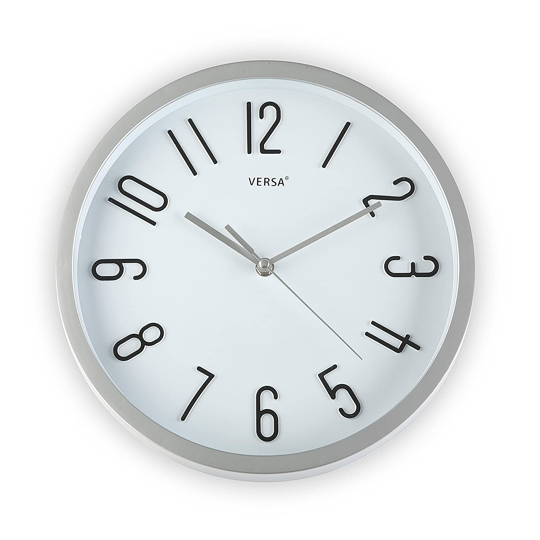 30 x 4,6 x 30 cm Silver VERSA 20550049 Orologio da Parete Argentato Diametro 30 cm
