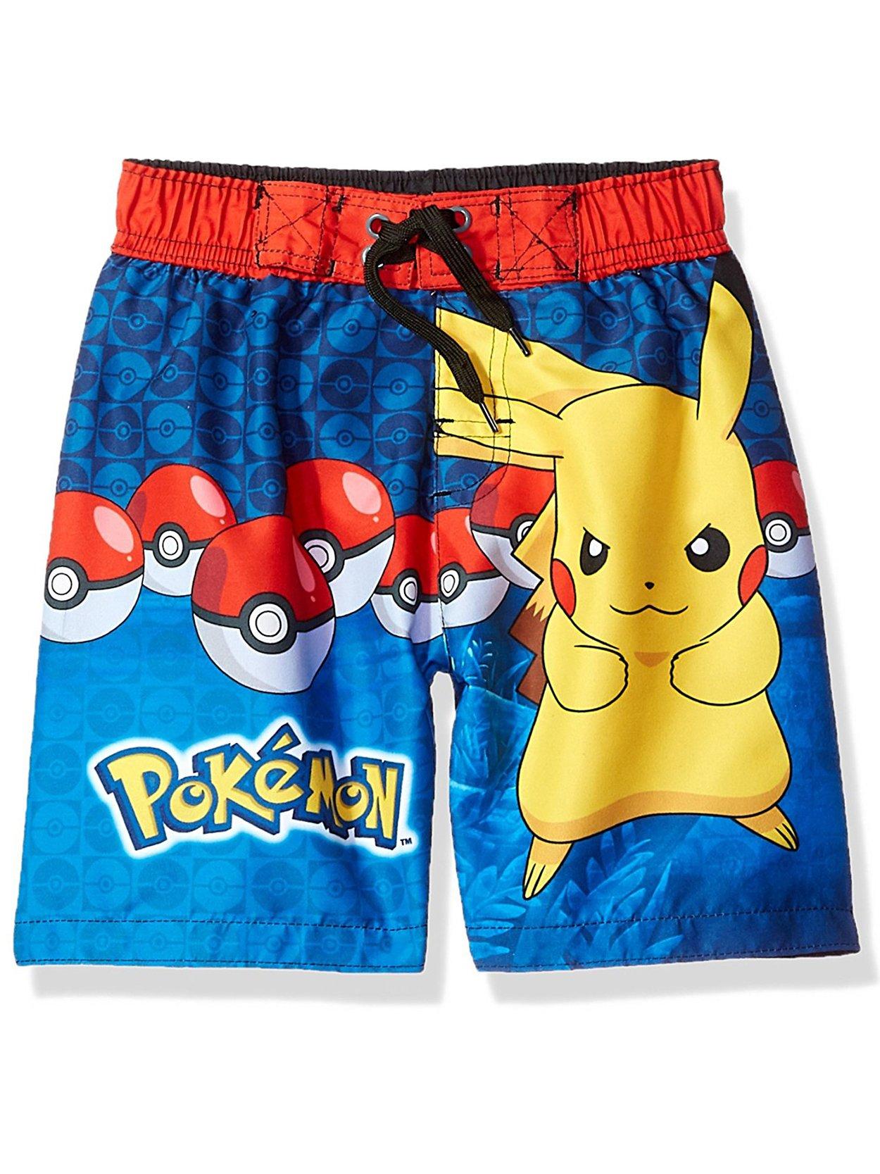 Pokemon Pikachu Boys Swim Trunks Swimwear (Little Kid/Big Kid) (5-6, Navy Blue)