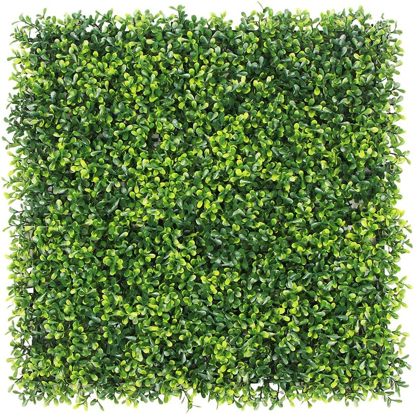 "ULAND Artificial Boxwood Hedge Panels, Grass Greenery Backdrop, Outdoor Ivy Garden Fence, Home Wall Decorations, Pack of 12pcs 20""x20"""