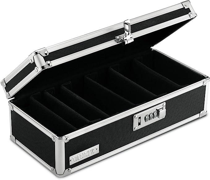 Multiple Designs Safe Storage Personal Combination Lock Box Medication Lock Box Bold Feathers, Large White