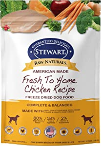 Stewart Raw Naturals Freeze Dried Dog Food Grain Free Made in USA with Chicken, Fruits, & Vegetables for Fresh To Home All Natural Recipe, Trial Size