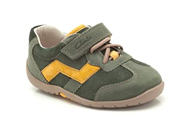 c1b9a5a86698 Clarks Boys Pre-School Softly Go Fst Leather Shoes In Green Narrow ...