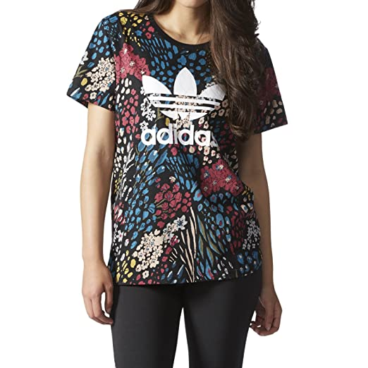3dd6f0e31e36c Amazon.com: adidas Originals Women's AOP Boyfriend Trefoil Tee ...
