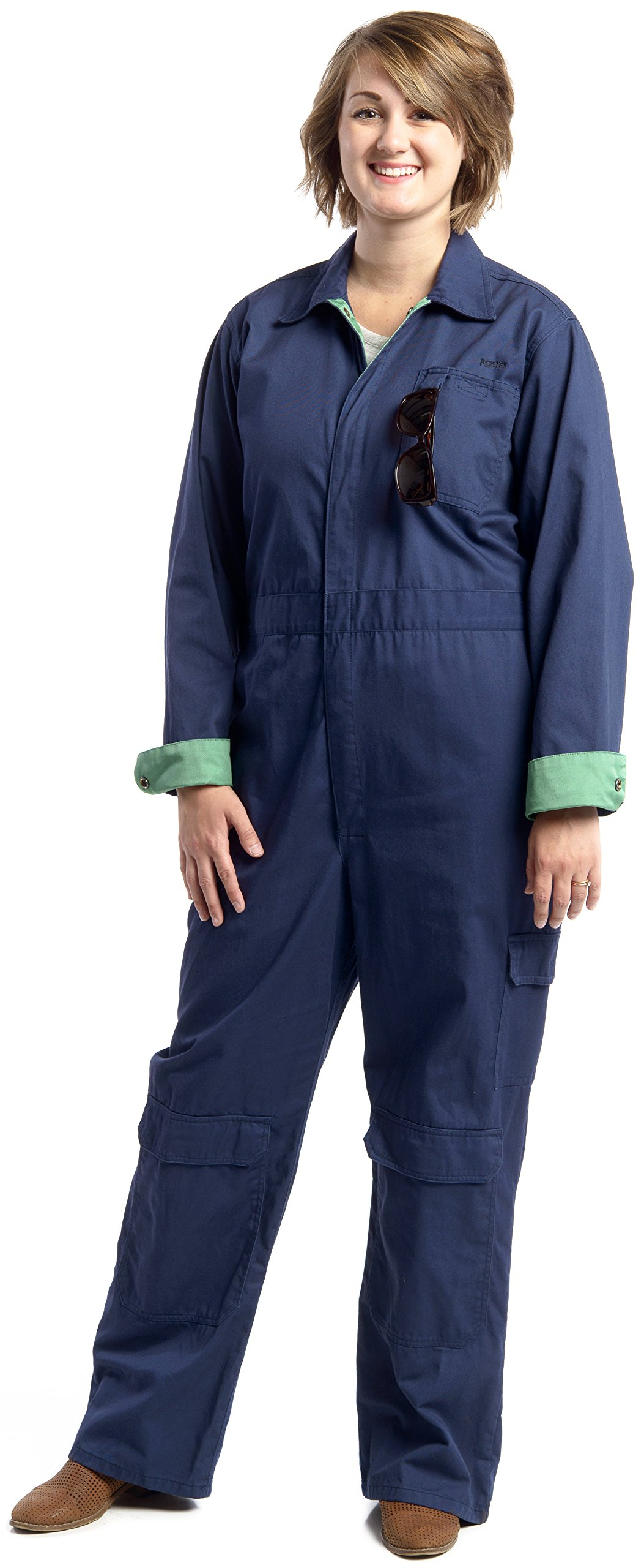 Rosies Workwear Women's Work Coveralls Navy with Green Trim (medium)