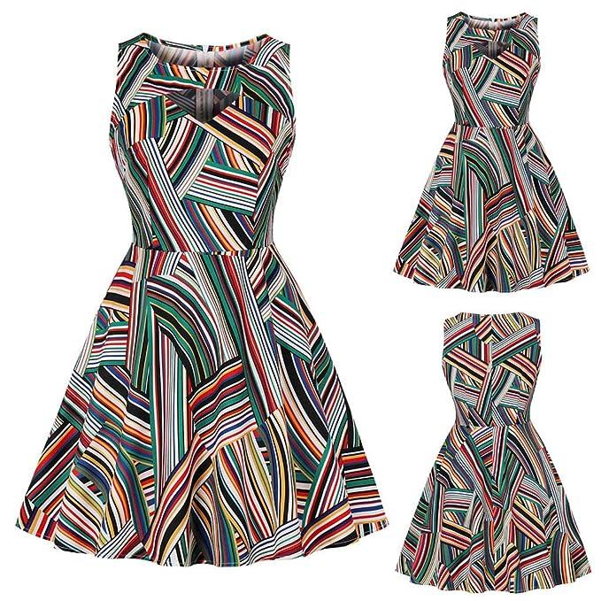 4cc2ffbcb6b81 Pandaie-Womens Dresses, Women Sleeveless Color Stripe Printing ...