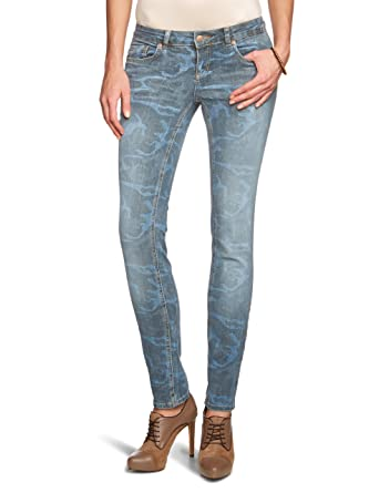 9b11c90e2285c8 ONLY Damen Jeans 15075229 Skinny Low Coral Camouflage Jeans Skinny/Slim Fit  (Röhre) Niedriger Bund