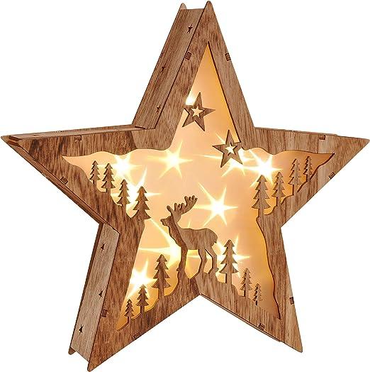Weihnachtsstern Holzstern beleuchtet Handarbeitmit LED