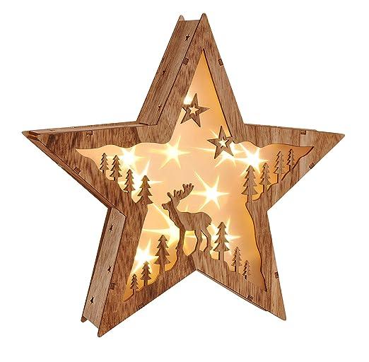 Stella Di Natale Luce.Stella Di Natale A Led Illuminazione Per Finestra Stella Di Legno Con 10 Led A Luce Bianca Calda