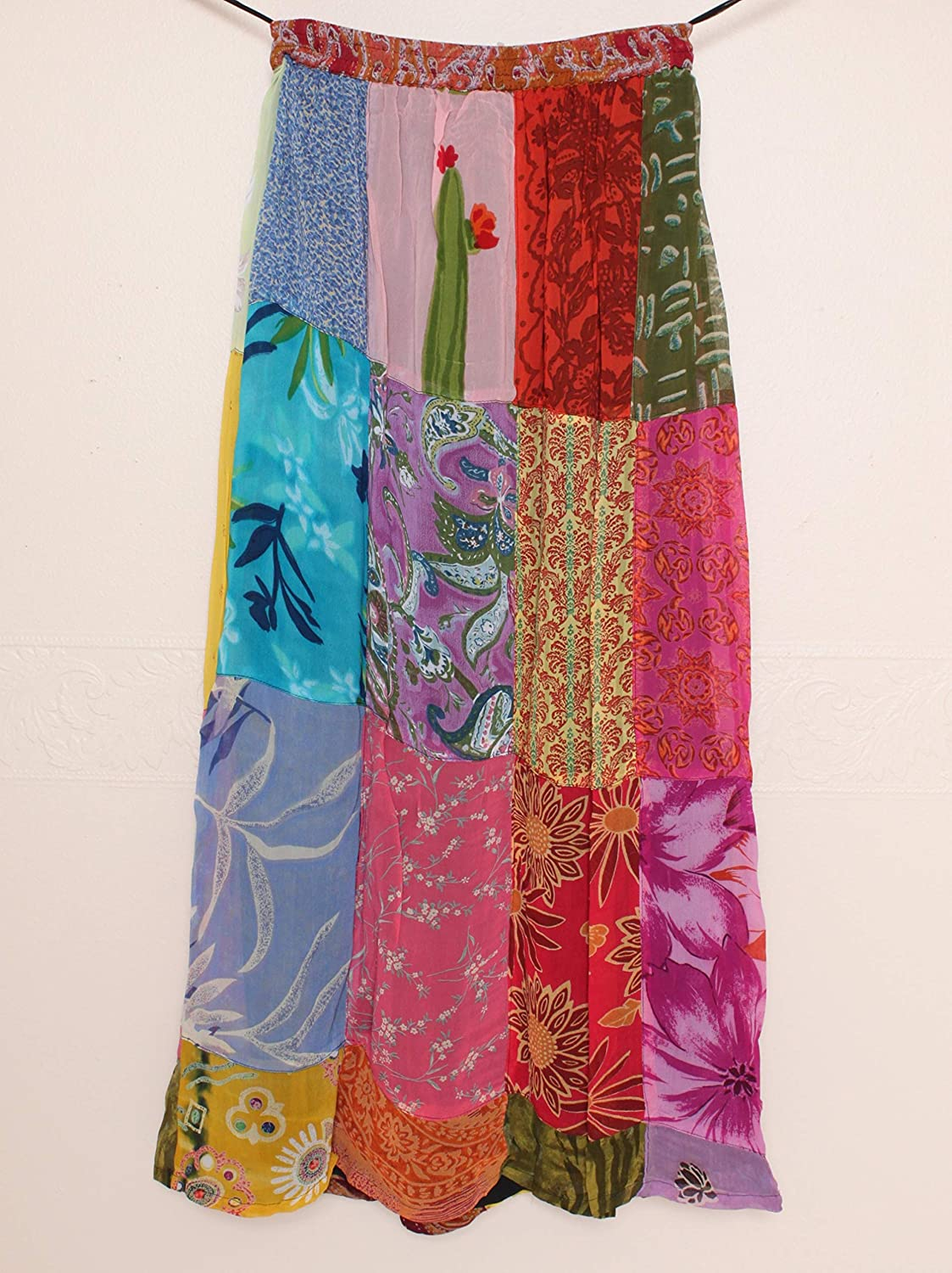 973be79ac3 Sacred Threads A-line Patchwork Long Skirt Casual Clothing, Shoes & Jewelry  Medium size #23131 C