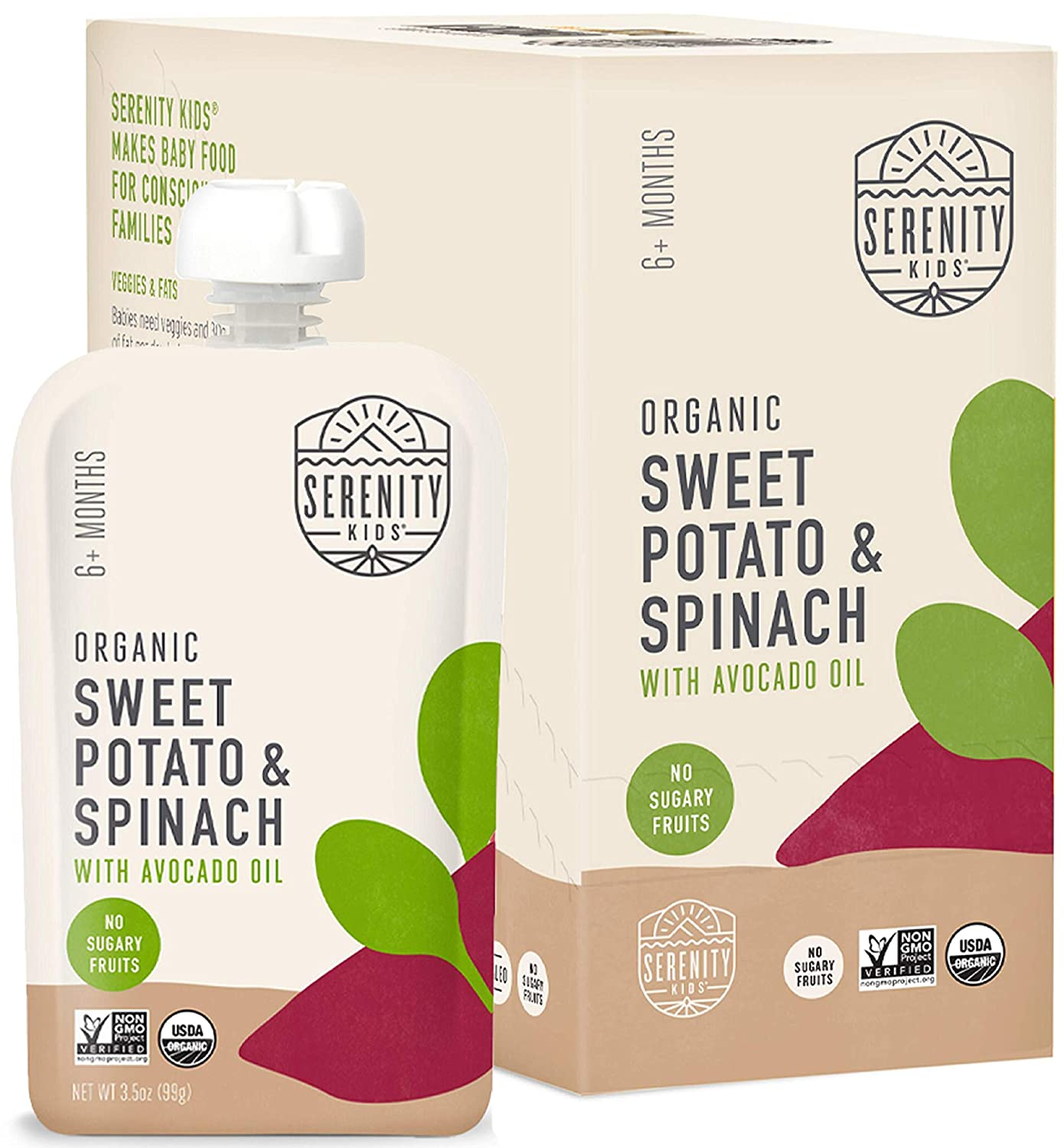 Serenity Kids Baby Food, Organic Sweet Potato and Spinach with Avocado Oil, For 6+ Months, 3.5 Ounce Pouch (6 Pack)