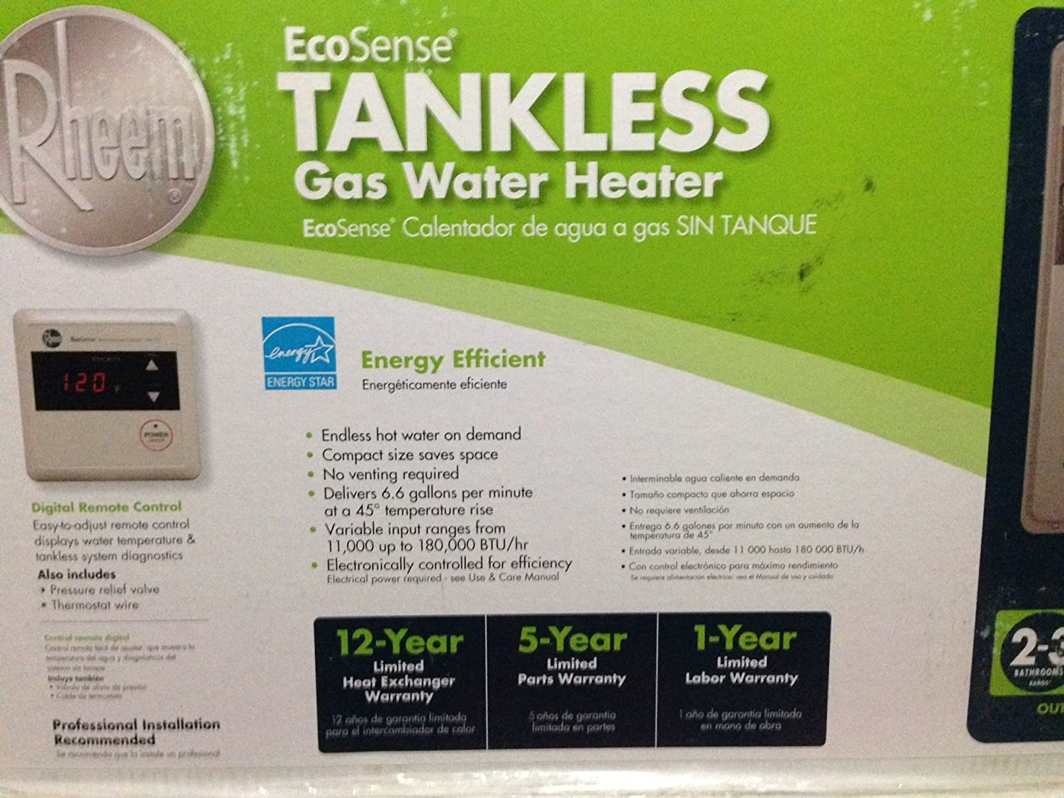 Rheem Ecosense Eco180xp3 8.4 GPM 180, 000 BTU Lp Gas Mid Efficiency Outdoor Tankless Water Heater - - Amazon.com