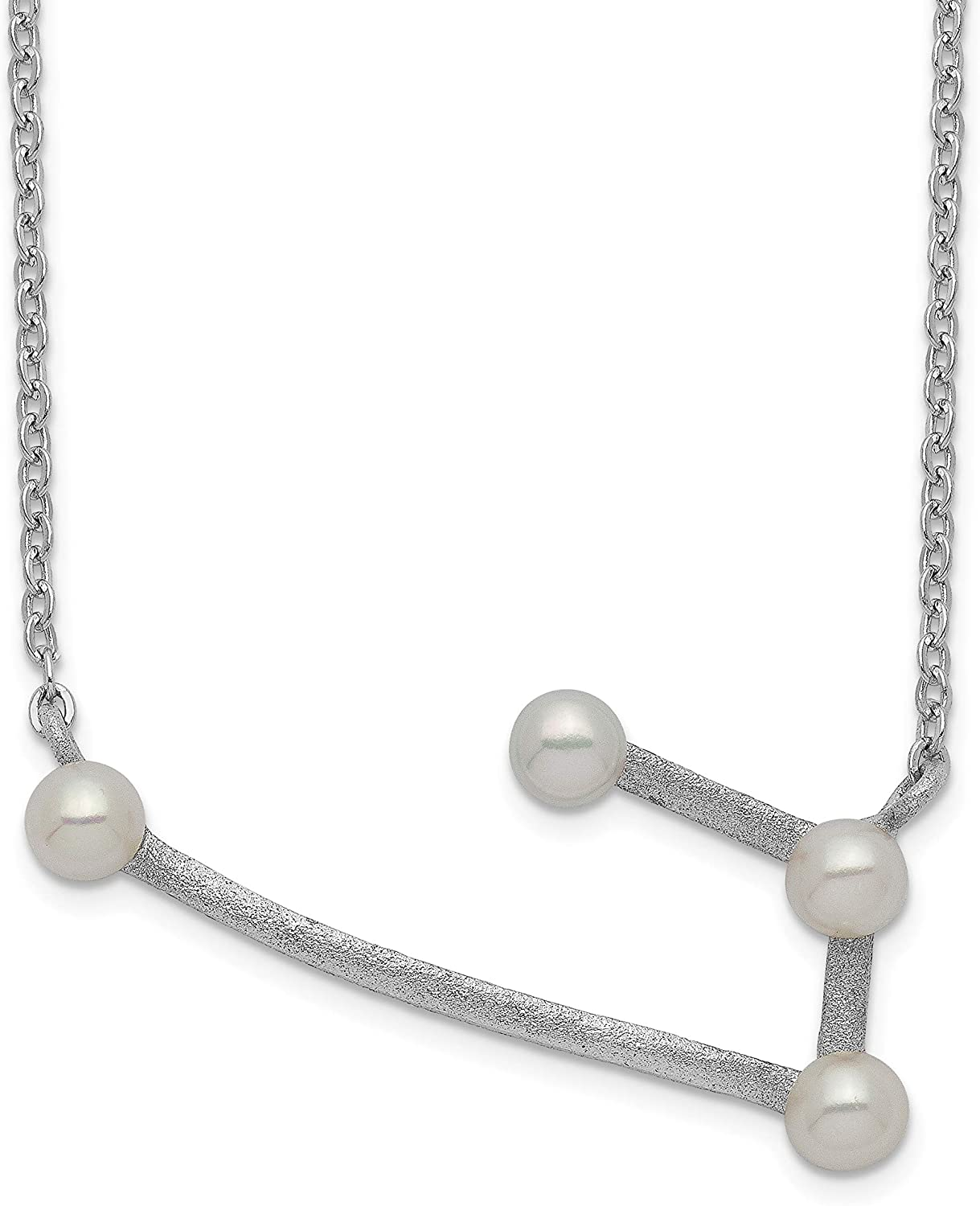 Necklace Sterling Silver Rhod-plat 4 3-4mm FWC Pearl Aries w// 1in ext