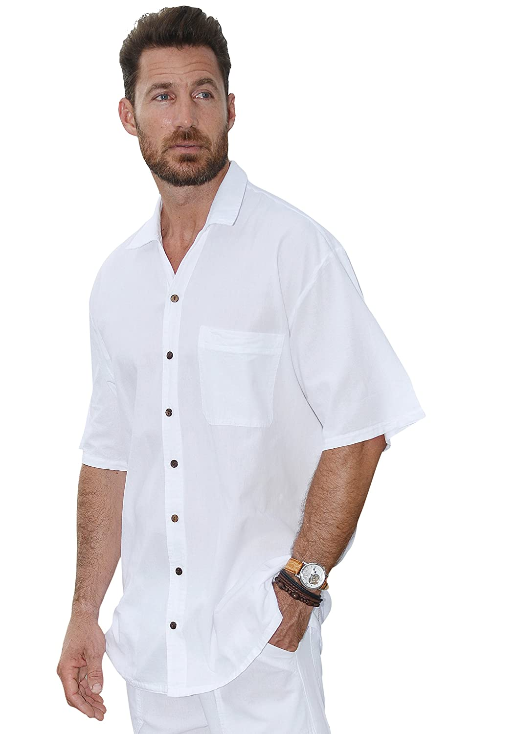 Cotton Natural Mens Casual Button Down Peruvian Pima Cotton Short