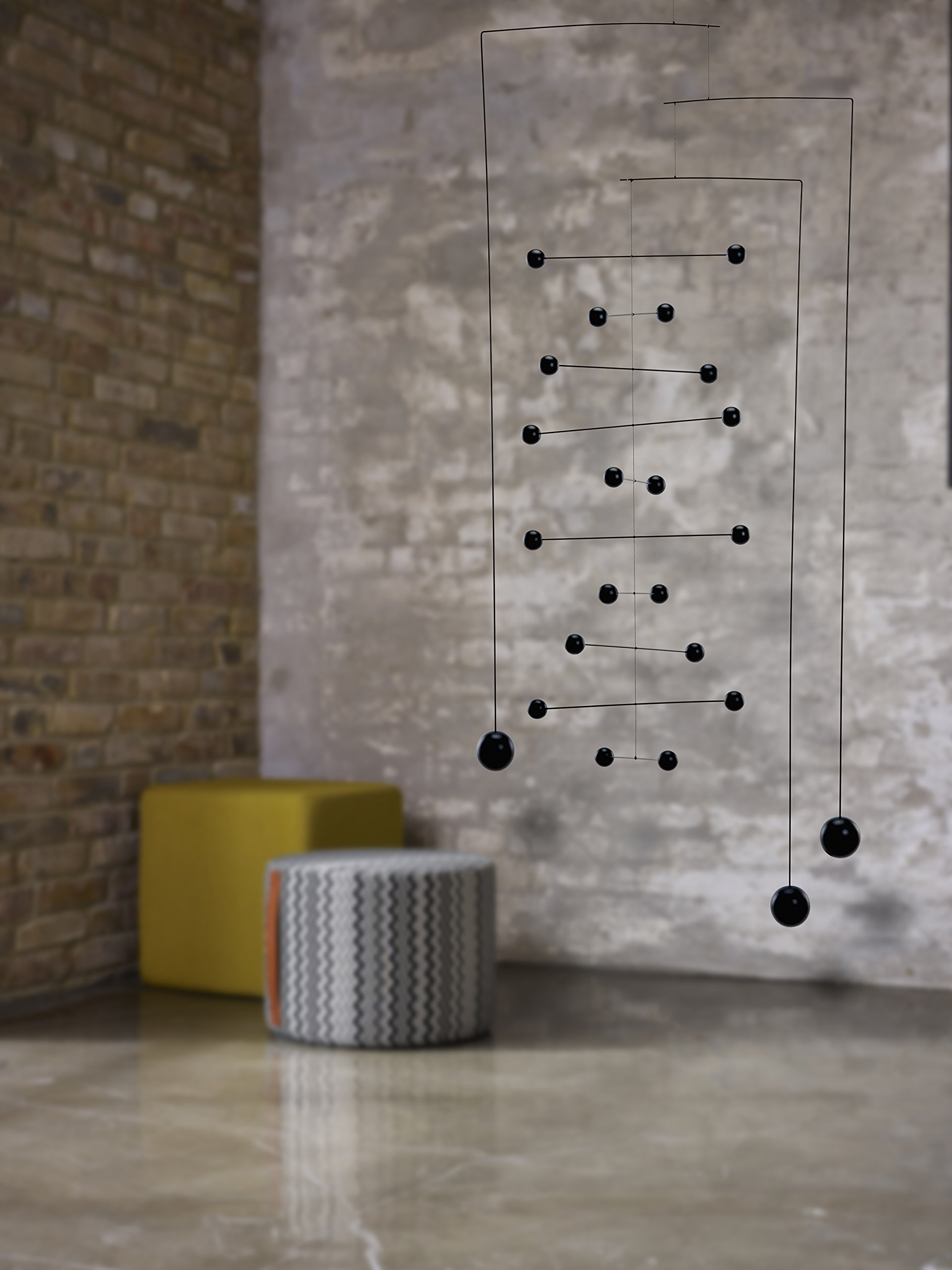 Counterpoint Large in Black Hanging Mobile - 44 Inches - Beech Wood and Steel - Handmade in Denmark by Flensted by Flensted Mobiles (Image #2)