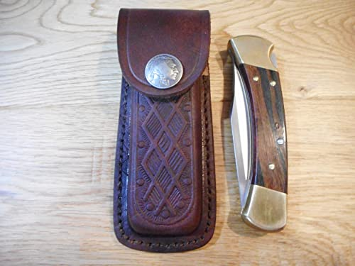 Leather Brown 5 Knife Sheath. Indian Head Nickel snap – fits Buck 110 – Textured. Sheath only