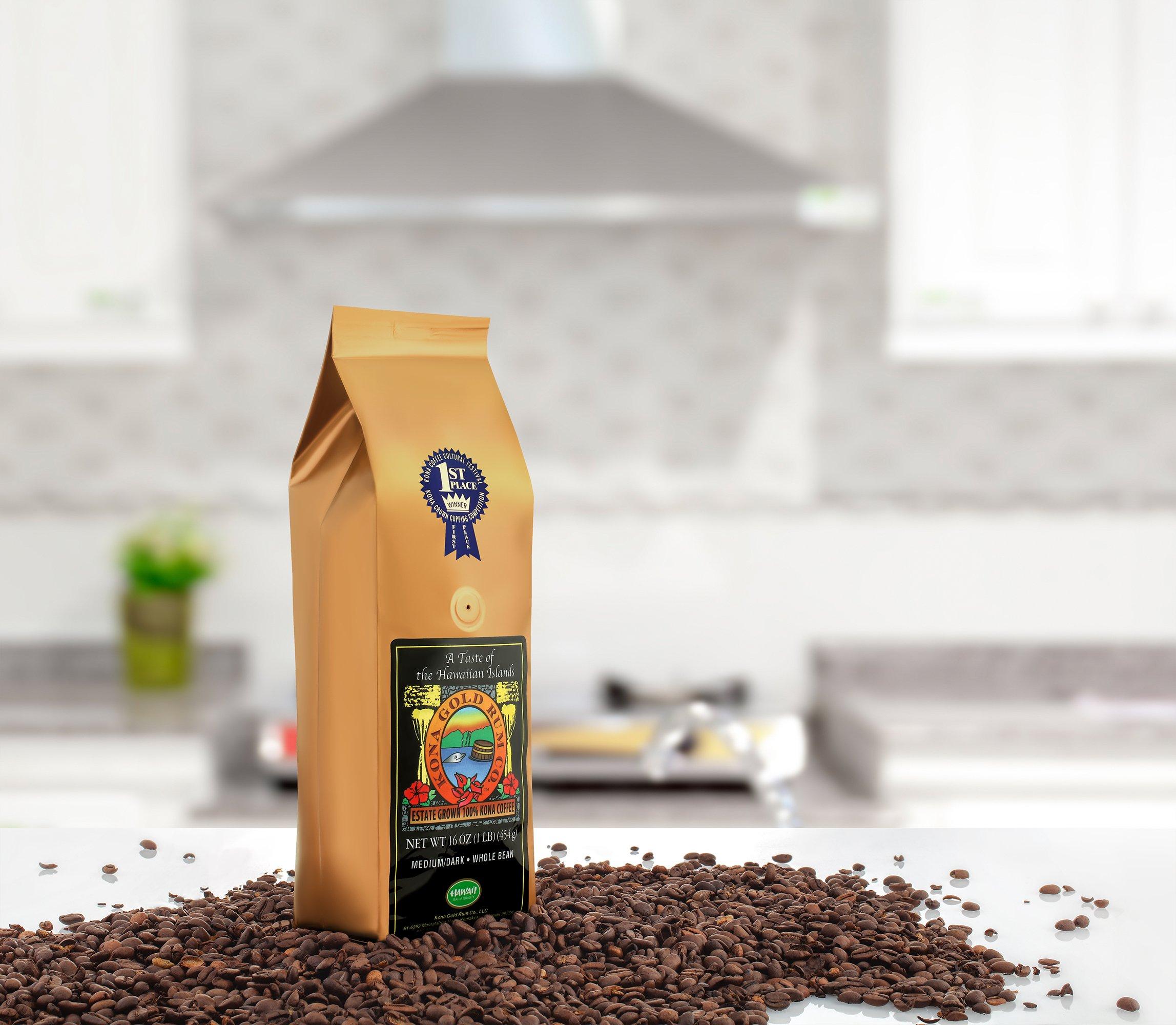Kona Gold Coffee Whole Beans - 16 oz, by Kona Gold Rum Co. - Medium/Dark Roast Extra Fancy - 100% Kona Coffee by Kona Gold (Image #4)