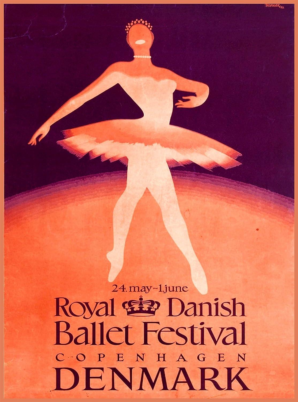 A SLICE IN TIME Royal Danish Ballet Festival Copenhagen Denmark Scandinavia Vintage Travel Home Collectible Wall Decor Advertisement Art Poster Print. Measures 10 x 13.5 inches.