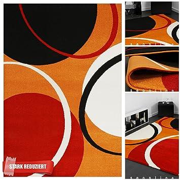 Exklusiver Designer Teppich mit 3D Effekt in Orange Rot Schwarz ...