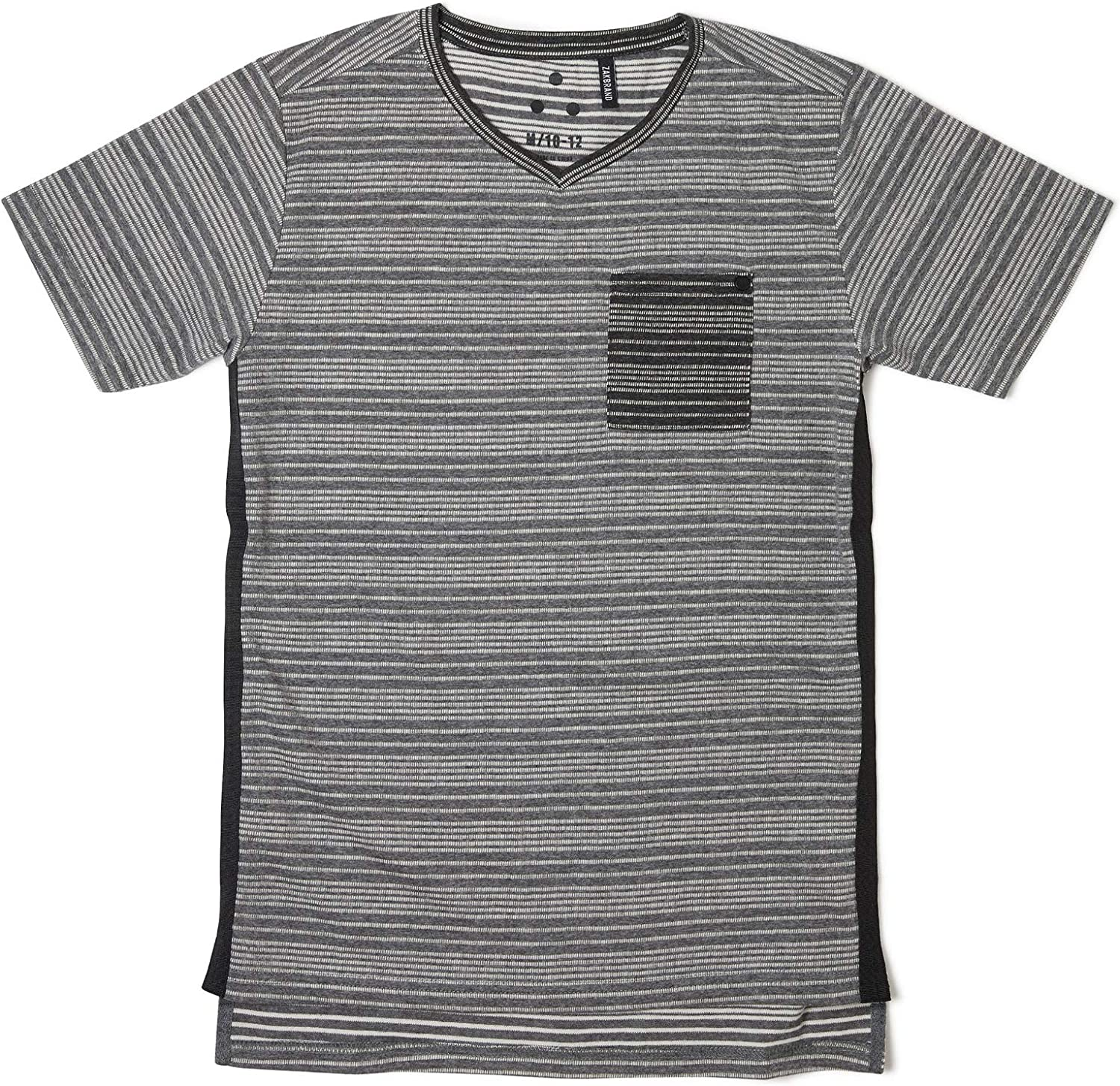 Zak Brand Kids for Boys V-Neck T Shirt Striped Tee in Soft Jacquard Fabric with Contrast Side Taping Black and Grey Costa