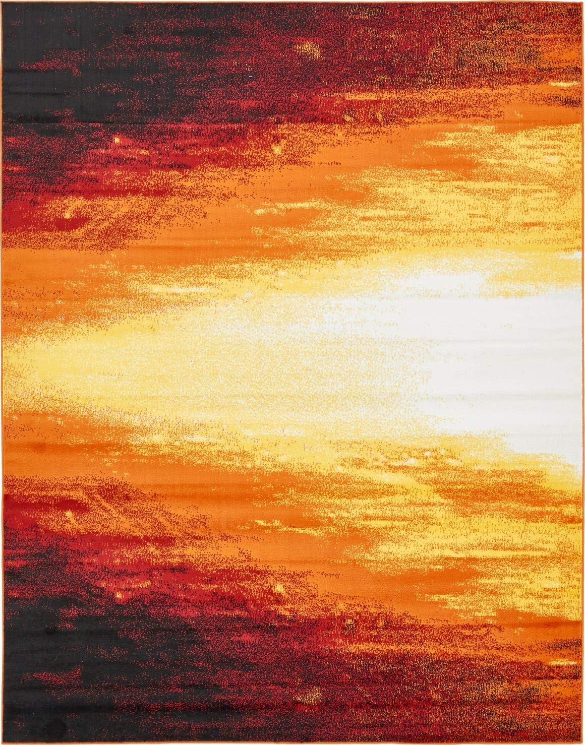 Unique Loom Metro Collection Bright Warm Colors Abstract Light Orange Area Rug 8 0 x 10 0