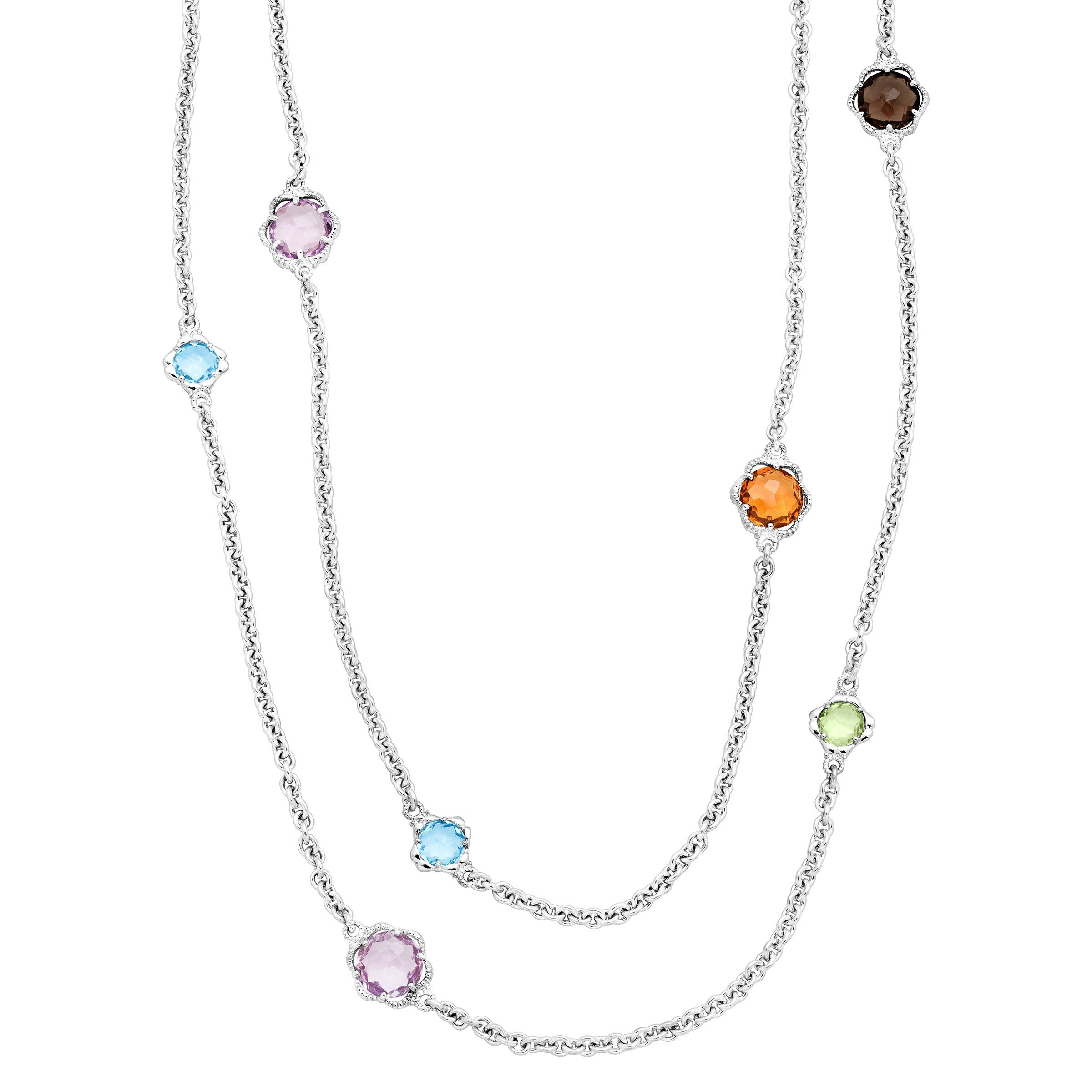 Flower Station Necklace with Natural Multi-Gems in Sterling Silver, 36''