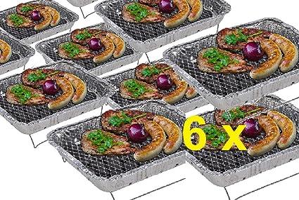 6 x desechables Barbacoa como camping eléctrica parrilla plegable plegable camping Grill parrillas de aluminio una
