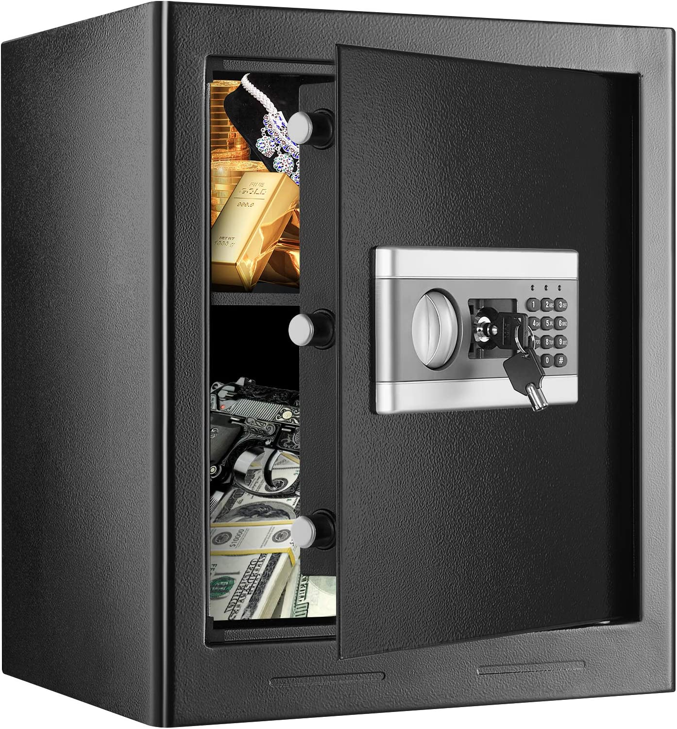1.53Cub Security Safe Lock Box, Electronic Steel Safe with Digital Keypad, Gun Document Money Safe Box for Home Office Hotel Business with Emergency Key, Warning Alarm (1.53Cubic)