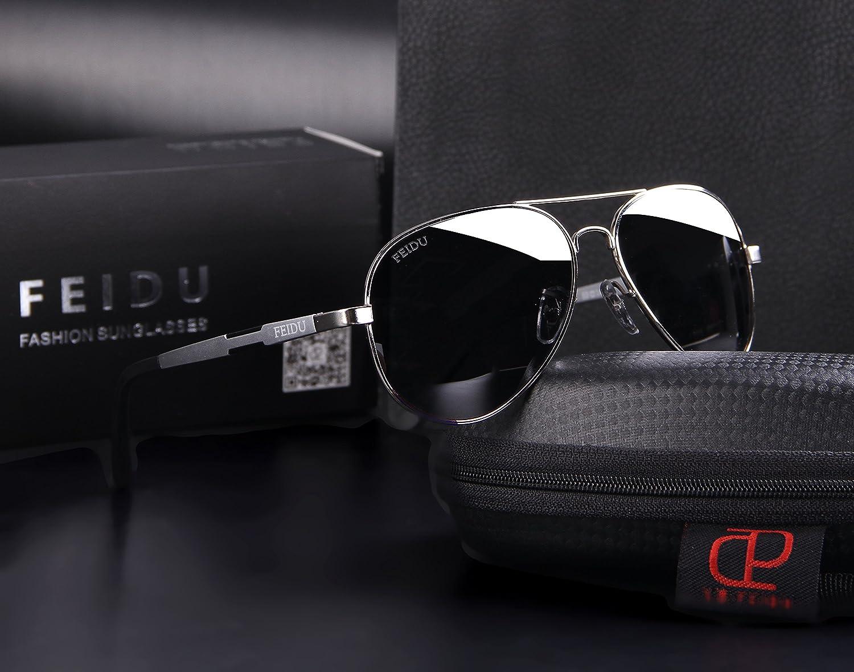 f268ae5e15 Amazon.com  FEIDU Mens Polarized Aviator Sunglasses Metal Frame Unisex Sun  Glasses FD9001 (Grey Silver