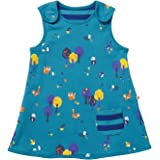 af90aaaf292d Piccalilly Organic Cotton Baby Girls Teal Blue Woodland Print Reversible  Dress