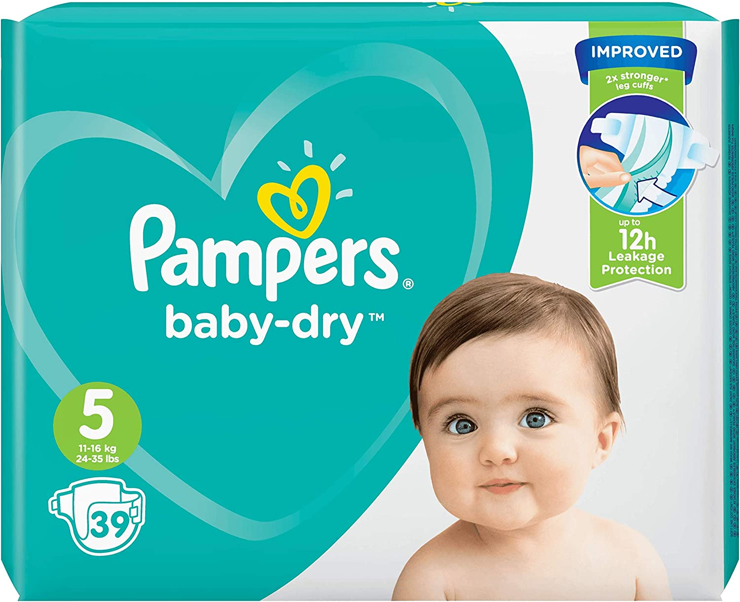 x39 couches Pampers Baby Dry Couches Taille 5 - Pack G/éant 11-23 kg