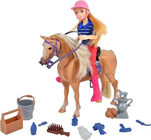 Sunny Days Entertainment Palomino Horse with Rider - Playset with 14 Realistic Grooming Accessories and Sounds   Blonde Doll in Riding Outfit   Horse Toys for Girls and Boys - Blue Ribbon Champions
