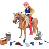 Sunny Days Entertainment Palomino Horse with Rider - Playset with 14 Realistic Grooming Accessories and Sounds | Blonde Doll
