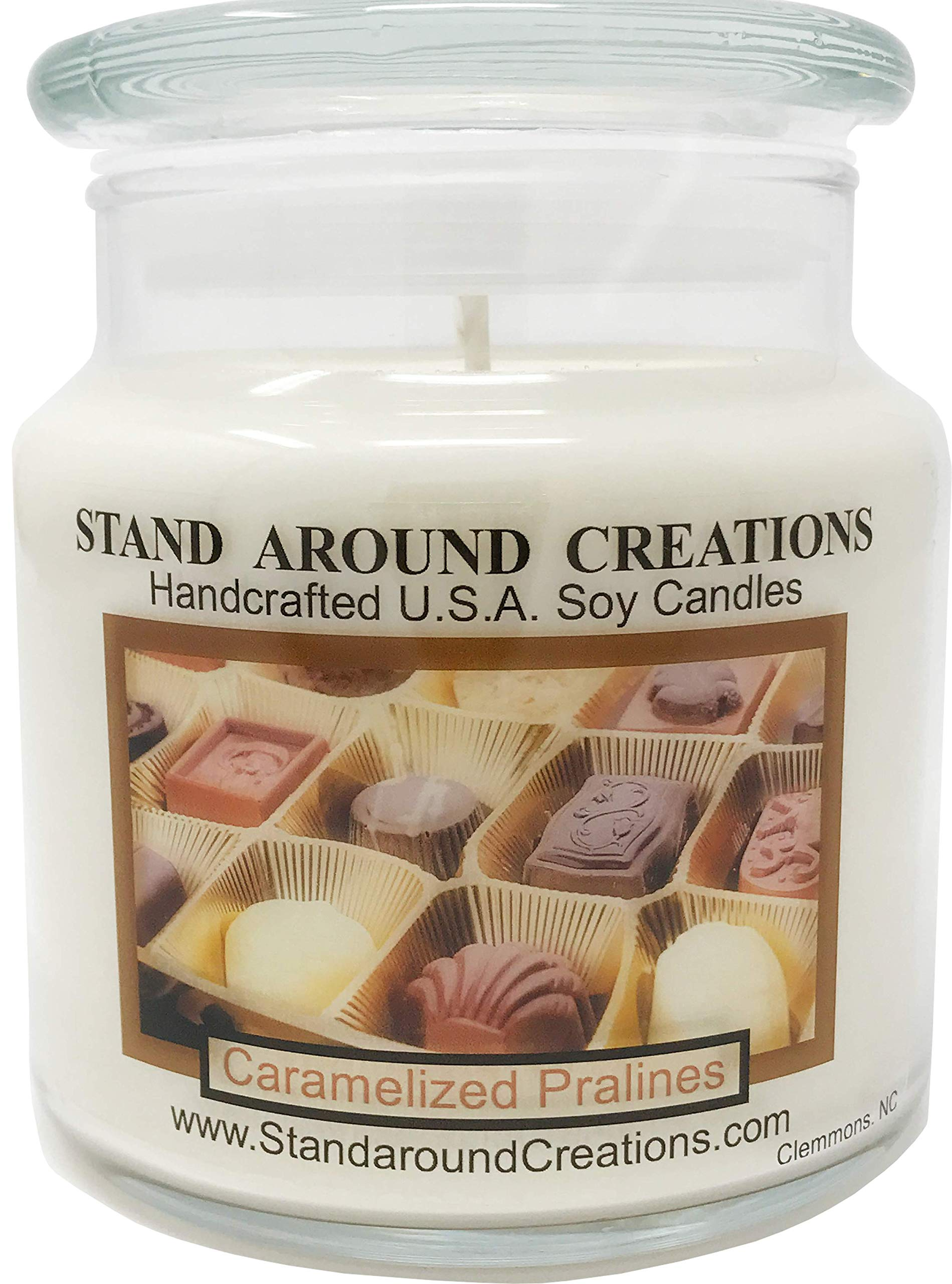 Premium 100% Soy Apothecary Candle - 16 oz.- Caramelized Pralines: An irresistible blend of sweet warm vanilla caramel, dark brown sugar w/butter-drenched pecans.
