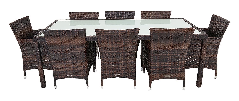 OUTFLEXX Esstischgruppe aus Polyrattan 220x100x74cm, mit 8 Stühlen, braun marmoriert