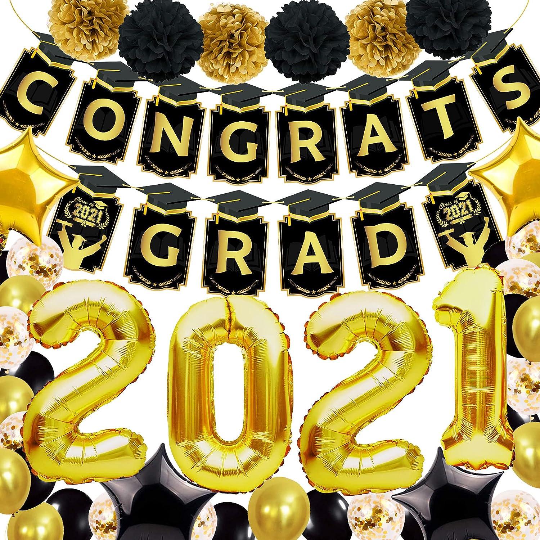 Joy Bang Graduation Decorations 2021 Including Gongrats Grad Banner 2021 Black and Gold Graduation Balloons Party Supplies for College Graduation Party Decor