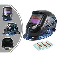 Leogreen - Masque de Soudure Réglable, Casque de Soudage Solaire à Éclairage Automatique, avec 3 lentilles supplémentaires, Motif éclairs, Matériau: PCB, État Sombre: DIN9-13