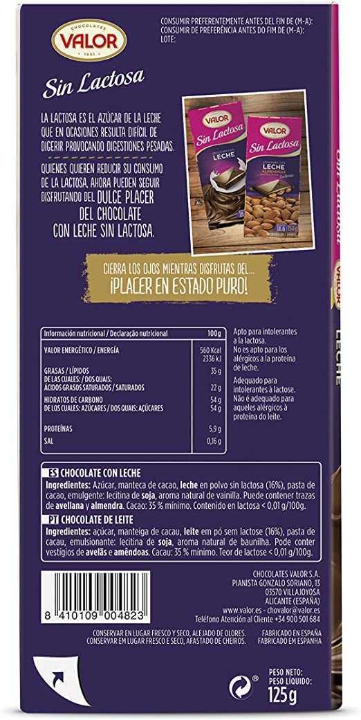VALOR chocolate con leche sin lactosa tableta 125 gr