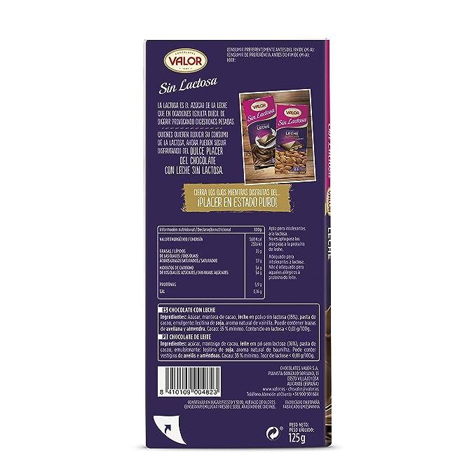 VALOR chocolate con leche sin lactosa tableta 125 gr: Amazon.es: Alimentación y bebidas