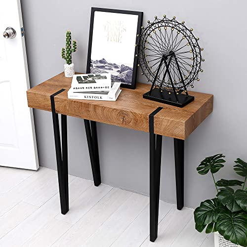 Ivinta Modern Industrial Narrow Console Table for Entryway 40×15 Inch Thicken Rustic Dark Oak Wood Veneer Finish Tabletop Slim Entry Table for Hallway Foyer Living Room Office Sofa