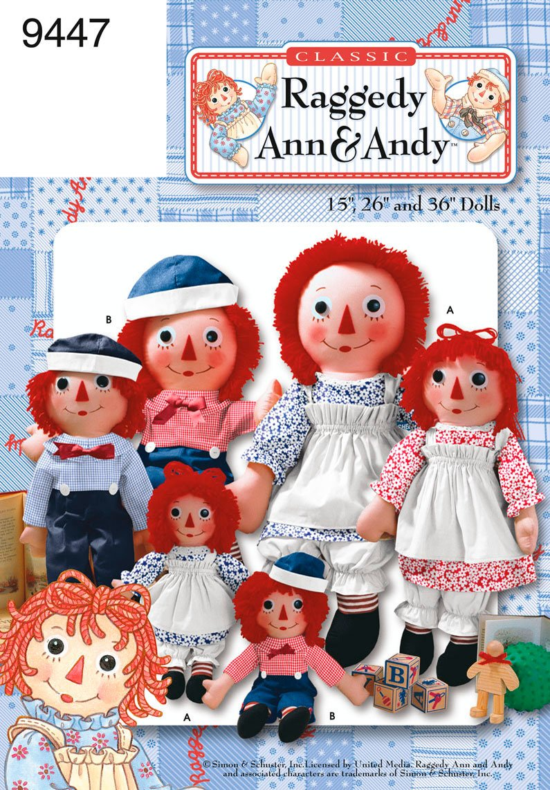 amazon com simplicity sewing pattern 9447 raggedy ann and andy